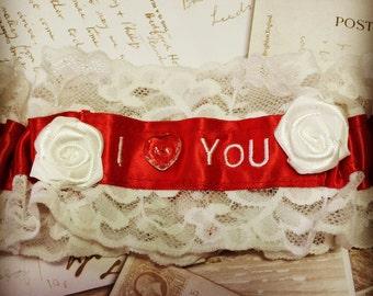 Valentines Garter - Valentines Day Garter, Red and white Garter, Wedding Garter, Luxury Garter, Alternative Garter, Offbeat Garter, Bespoke
