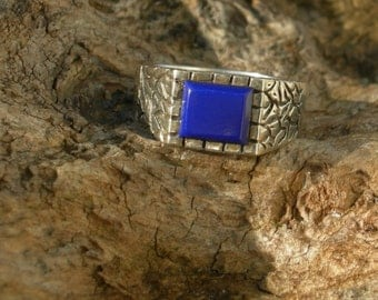 Large Solid Sterling Silver and Lapis Men's Ring size 12 1/2