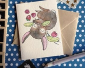 Happy & Healthy bunny rabbit holiday New Year Valentine's Day get well birthday card