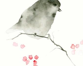 Bird Art Watercolor Print Little Black Bird with Berries