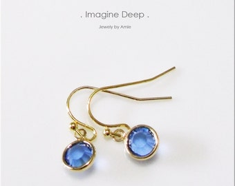 50% off SPECIAL - Dangle Crystal Earrings - Gold Plated Blue Sapphire-Like Swarovski Crystal Earrings