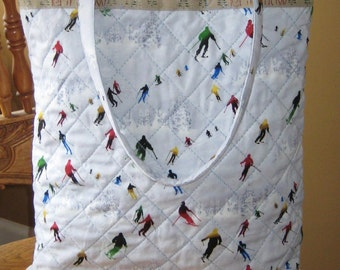 Quilted Winter Ski Tote - Inspired by the Sochi Olympics