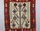 Vintage Turkish Kilim Rug / Oushak Design, Hand Woven / 3 x 4'2 / Very Good Condition, Wool / Boho, Tribal, Global Home Decor, Red