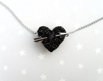 Black Valentines Necklace crochet black heart and arrow.Love necklace.