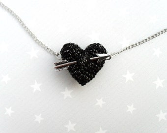 Necklace crochet black heart and arrow.Love necklace.