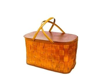 Vintage Picnic Basket Woven Wood Splint Lunch Hamper Storage Bin Mustard Gold Metal Handles