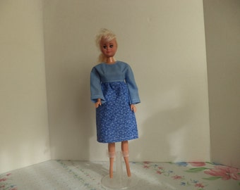Dress, Long Sleeves, Floral Cotton,  11 1/2 inch dolls, Easy On and Off, Ready to Ship