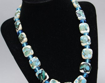 StunningSquare Ivory Beads with Turquoise Teal Black Accent Design Glass Lampwork NecklaceToggle Clasp