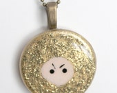 Gold Glitter Ninja Glass Pendant