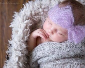 Lavender Newborn Headwrap Headband, Purple Mohair Silk Knit Bow Headwrap Newborn Photo Prop Baby Headband, Newborn to Small Baby Size
