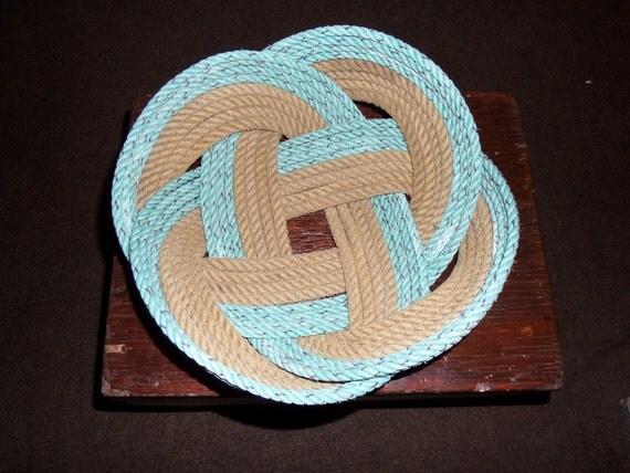 "Unique Rope Bread Basket Bowl12""  Centerpiece Nautical Decor Made in Alaska"