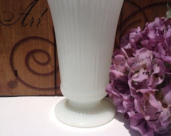 Vintage Milk Glass Vase E O Brody EO White Pedestal Base #3957