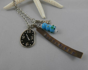 Alice in Wonderland Hand Stamped Charm Necklace