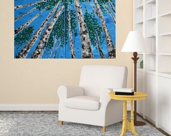 SALE Spring Green Aspen Tree Scene 20x36