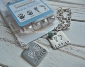 Large Hand and Foot Prints Metal Design Stamps - Design Stamp Pack - 9.5mm  - ImpressArt - Jewelry Stamping