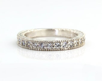 Natural Diamond Antique style Wedding Band Ring 14k White Gold