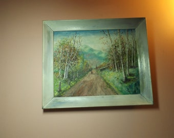 """Sale Vintage real oil on canvas, landscape, signed, distressed frame. 15""""  On the road.Autumn.Home decor. Wall hanging.Gift"""