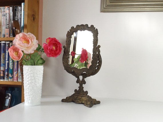cast iron mirror vanity mirror makeup mirror table by huntwithjoy. Black Bedroom Furniture Sets. Home Design Ideas