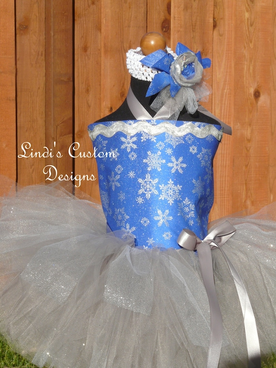 Snowflake Royal Blue and Silvery Grey Winter Tutu Set for Pageants, Holidays, Christmas, Event Photography, Children to 8 yr