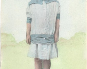 Antique Hand Colored Photograph c 1910 Schoolgirl with Bow 5x7 Original