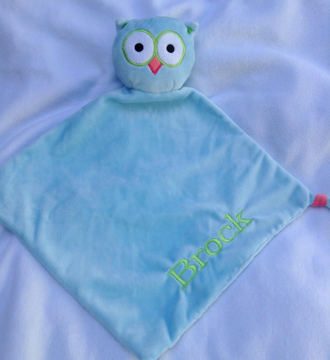 Baby Gift Monogram : Monogrammed baby gift personalized owl security blanket