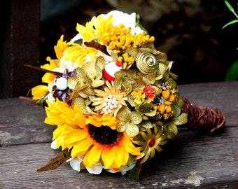 Hunting camo deer fishing brooch bouquet sunflower bridal bouquet