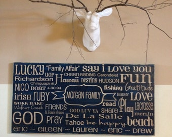 X-tra Large Custom Family Rules sign - 24x48 - you pick color and wording - handpainted on wood sign