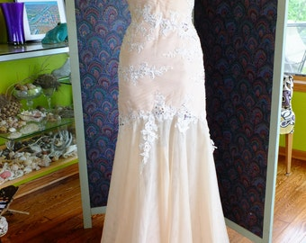 Wedding dress flapper inspired tulle lace rhinestone Great gatsby wedding dress 1920s