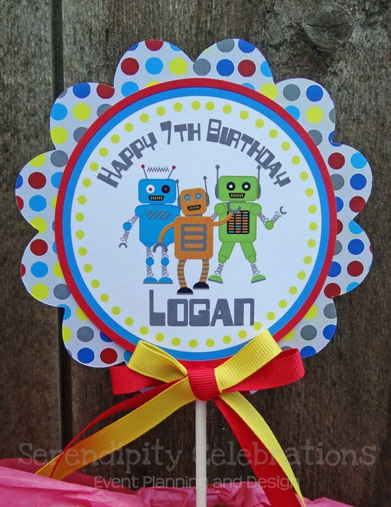 Personalized Cake Topper -Robot-small centerpiece -Birthday -Baby Shower -Robot Party-Smash Cake Topper -Photo Prop -Dessert Table
