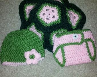 3 piece crochet newborn Turtle photo prop