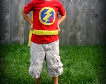 Super Hero T-shirt Sewing Pattern with Built-in Cape, PDF