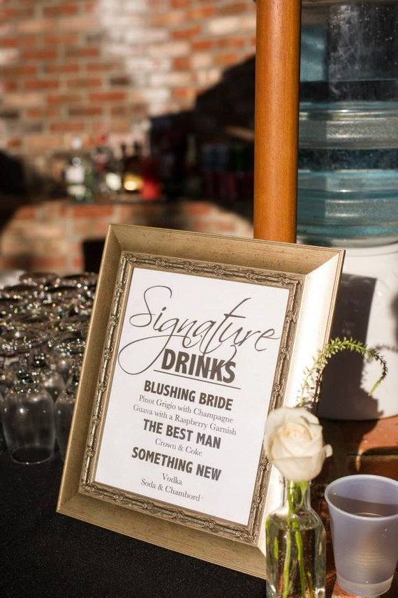 Wedding signature drink sign wedding signature cocktail sign like this item junglespirit