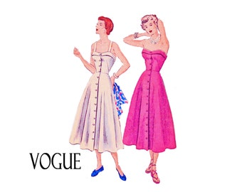 SALE 1940s Flared Dress with straps of strapless UNCUT Sewing Pattern Easy to Make Size 14 Bust 32 Vogue 6710 Sundress Summer button front