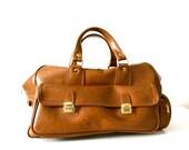 Vintage Honey Vegan Leather Duffle Bag