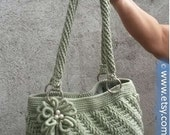 INSTANT DOWNLOAD Diagonal Textured Purse with  Bullion Flower - Crochet Pattern