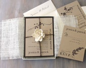 "Burlap Wedding Invitations, Rustic Boxed Wedding Invitations, Kraft Paper - ""Ivory Romance Box Invite"" Sample - NEW LOWER PRICE!"