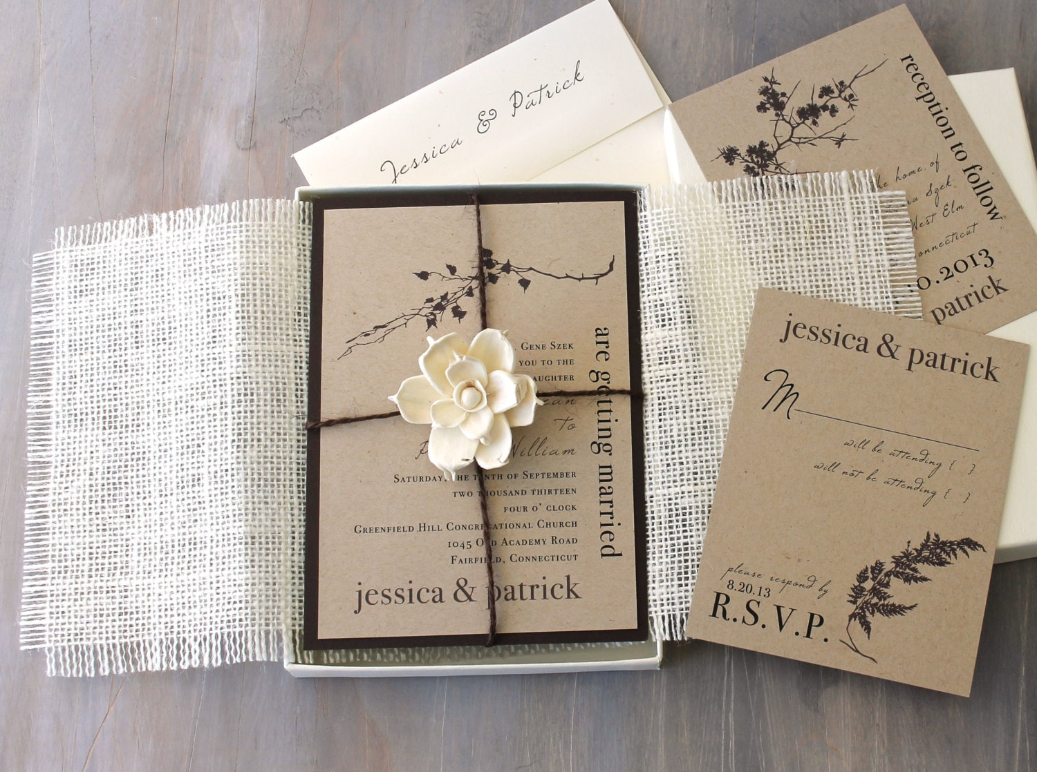 Burlap Wedding Invitations Rustic Boxed Wedding Invitations