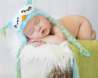 Newborn Sleepy Baby Owl Hat in Aqua and Lime Photo Prop or Halloween Costume
