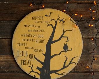 Halloween Moon Trick or Treat Moon Owl Spooky Halloween Decor