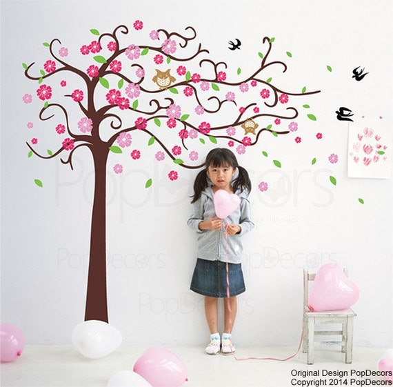 """Girls Room Floral Tree Wall Decals Cherry Flowers Stickers- Cute Flower Tree with Owls (71"""" H)- Girls Baby Wall Arts by Pop Decors pt0153"""