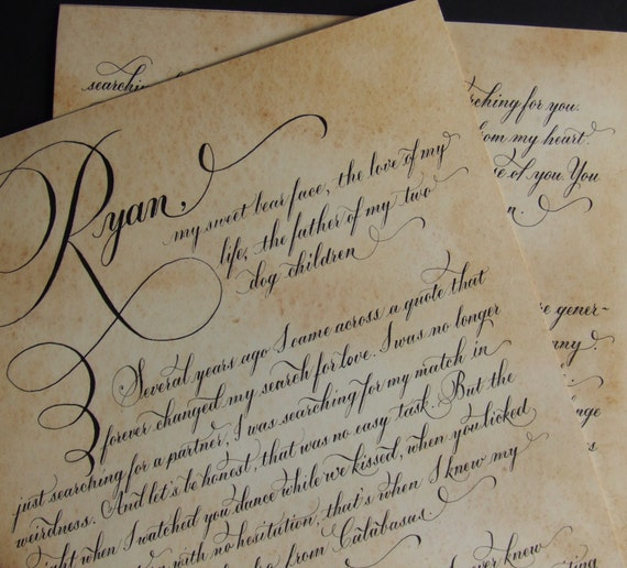 Wedding vows calligraphy and made to by damngoodcalligraphy