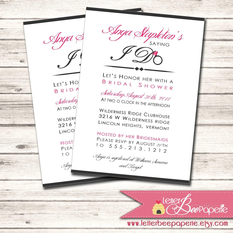 Bridal Shower Invitation Custom Order To Match The Brides Colors DIY Printable Invite