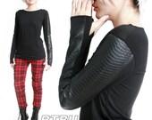 RTBU Androgynous Unisex Faux Snake Python Leather Scale Skin Gothic Punk Rocker Thumb Hole Mitten Shirt Top