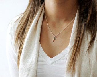 Tiny Initial Jewelry, Personalized Bar Drop Necklace, Sterling Initial Necklace, Vertical Bar Necklace, Necklace Personalize, Charm Necklace