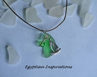 Sea glass ship necklace. Green beach glass necklace. Nautical jewelry.