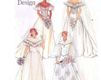 1980s Womens Bridal Gown Vogue Basic Design Sewing Pattern 1511 Size 10 Bust 32 1/2 UnCut Vintage Wedding Gown Pattern