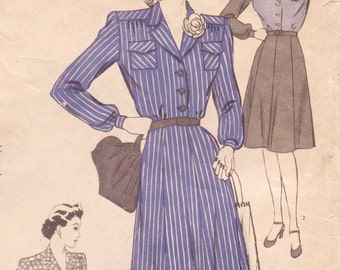 1940s Hollywood Sewing Pattern 1219 Womens Dress with Patented Contour Closure Size 12 Bust 30 Vintage 40s Sewing Patterns