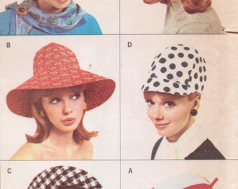 1960s Womens Hat Wardrobe 4 Styles of Hats Beanie Jockey Cap McCalls Sewing Pattern 8254 Size Small & Large UnCut