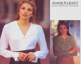 90s Anne Klein II Womens Blouses Vogue American Designer Sewing Pattern 1555 Size 8 10 12 Bust 31 1/2 to 34 Suit Blouse Patterns