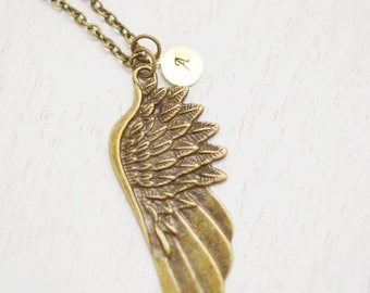 personalized angel wing necklace,guardian angel,custom initial friendship necklace,bridesmaid necklace,hand stamped jewelry,graduation gift